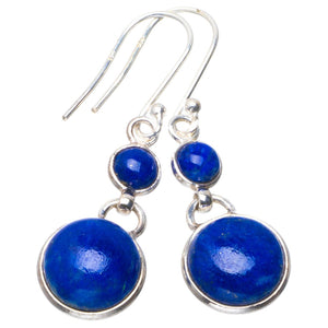 "Natural Lapis Lazuli Handmade Unique 925 Sterling Silver Earrings 1.5"" B2608"