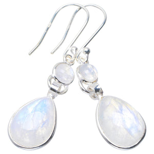 "Natural Rainbow Moonstone Handmade Unique 925 Sterling Silver Earrings 1.75"" B2611"