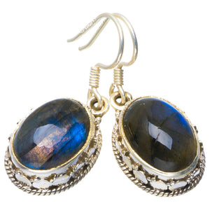 "Natural Blue Fire Labradorite Handmade Unique 925 Sterling Silver Earrings 1.25"" B2613"