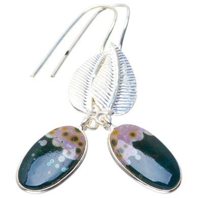 Natural Ocean Jasper Handmade Unique Leaf 925 Sterling Silver Earrings 2.25