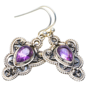 "Natural Amethyst Handmade Unique 925 Sterling Silver Earrings 1.5"" B2618"