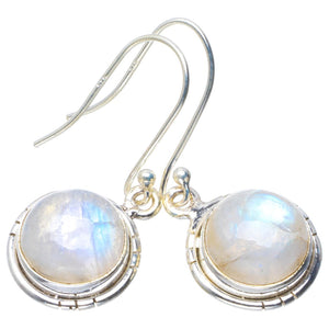 "Natural Rainbow Moonstone Handmade Unique 925 Sterling Silver Earrings 1.5"" B2624"