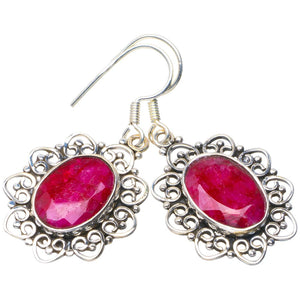 "Natural Cherry Ruby Handmade Unique 925 Sterling Silver Earrings 1.5"" B2625"