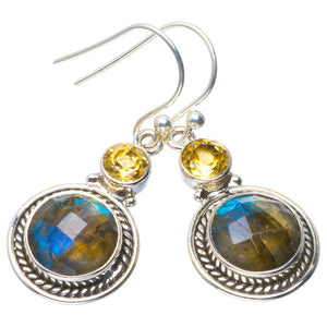 "Natural Blue Fire Labradorite and Citrine Handmade Unique 925 Sterling Silver Earrings 1.5"" B2627"