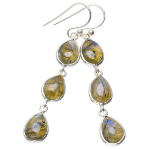 "Natural Blue Fire Labradorite Handmade Unique 925 Sterling Silver Earrings 2.25"" B2629"