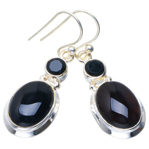 "Natural Black Onyx Handmade Unique 925 Sterling Silver Earrings 1.5"" B2630"