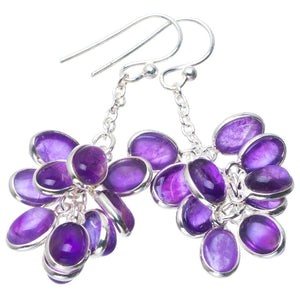 "Natural Amethyst Handmade Unique 925 Sterling Silver Earrings 2"" B2631"