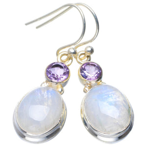 "Natural Rainbow Moonstone and Amethyst Handmade Unique 925 Sterling Silver Earrings 1.5"" B2635"