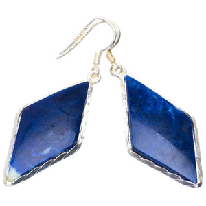 "Natural Sodalite Handmade Unique 925 Sterling Silver Earrings 2"" B2638"