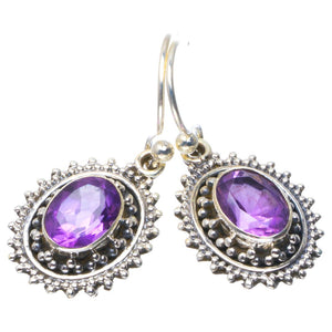 "Natural Amethyst Handmade Unique 925 Sterling Silver Earrings 1.25"" B2639"