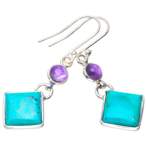 "Natural Turquoise and Amethyst Handmade Unique 925 Sterling Silver Earrings 1.75"" B2641"