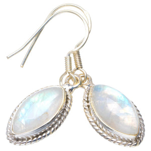 "Natural Rainbow Moonstone Handmade Unique 925 Sterling Silver Earrings 1.5"" B2648"