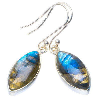 Natural Blue Fire Labradorite Handmade Unique 925 Sterling Silver Earrings 1.5