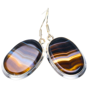 "Natural Botswana Agate Handmade Unique 925 Sterling Silver Earrings 1.75"" B2651"