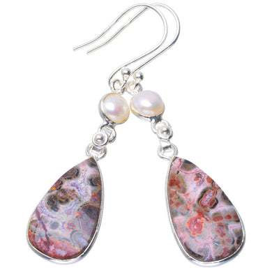 Natural Leopard Skin Jasper and River Pearl Handmade Unique 925 Sterling Silver Earrings 2.25