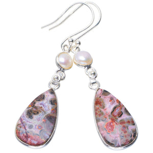 "Natural Leopard Skin Jasper and River Pearl Handmade Unique 925 Sterling Silver Earrings 2.25"" B2653"