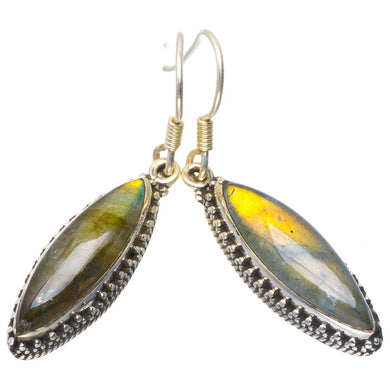 Natural Blue Fire Labradorite Handmade Unique 925 Sterling Silver Earrings 1.75