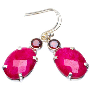 "Natural Cherry Ruby and Garnet Handmade Unique 925 Sterling Silver Earrings 1.5"" B2657"