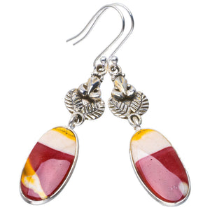"Natural Royal Imperial Jasper Handmade Unique Owl 925 Sterling Silver Earrings 2.5"" B2662"