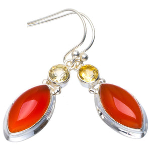 "Natural Carnelian and Citrine Handmade Unique 925 Sterling Silver Earrings 1.5"" B2668"