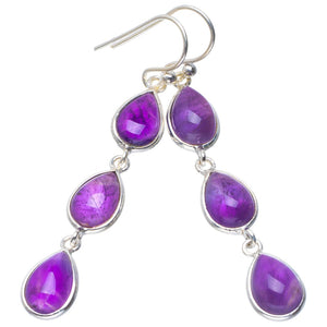 "Natural Amethyst Handmade Unique 925 Sterling Silver Earrings 2"" B2669"