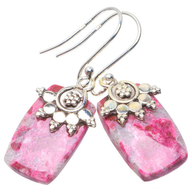 Natural Pink Thulite Handmade Unique 925 Sterling Silver Earrings 1.5