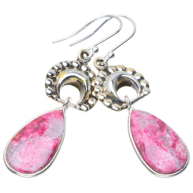 Natural Pink Thulite Handmade Unique Moon 925 Sterling Silver Earrings 2.25
