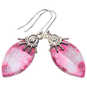 "Natural Pink Thulite Handmade Unique 925 Sterling Silver Earrings 1.75"" B2715"