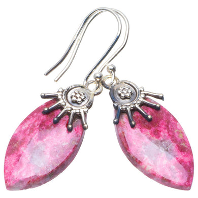Natural Pink Thulite Handmade Unique 925 Sterling Silver Earrings 1.75
