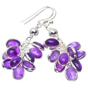 "Natural Amethyst Handmade Unique 925 Sterling Silver Earrings 1.75"" B2875"