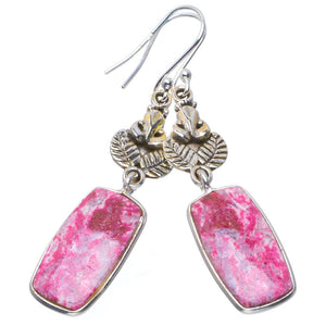 "Natural Pink Thulite Handmade Unique 925 Sterling Silver Earrings 2.25"" B2962"