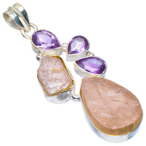 "Natural Rose Quartz Rough and Amethyst Handmade Unique 925 Sterling Silver Pendant 2.25"" B3013"