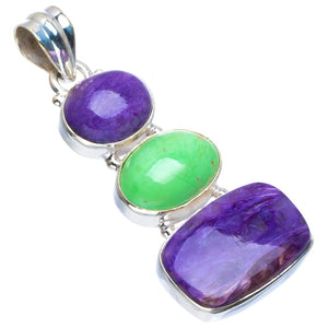 "Natural Charoite and Turquoise Handmade Unique 925 Sterling Silver Pendant 2"" B3283"
