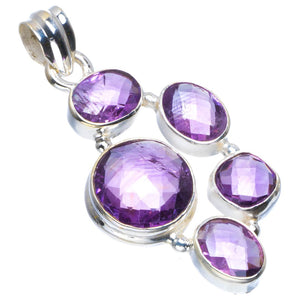 "Natural Amethyst Handmade Unique 925 Sterling Silver Pendant 1.75"" B3286"
