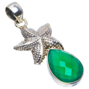 "Natural Chrysoprase Handmade Unique Starfish 925 Sterling Silver Pendant 1.75"" B3289"