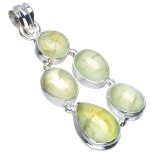 "Natural Prehnite Handmade Unique 925 Sterling Silver Pendant 2"" B3295"