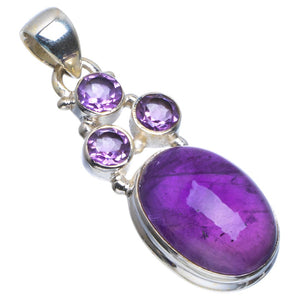 "Natural Amethyst Handmade Unique 925 Sterling Silver Pendant 1.5"" B3300"