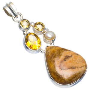 "Natural Royal Imperial Jasper,Citrine and River Pearl 925 Sterling Silver Pendant 2"" B3307"