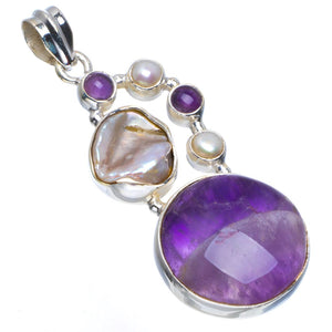 "Natural Chevron Amethyst,Biwa Pearl and Amethyst Handmade Unique 925 Sterling Silver Pendant 2"" B3318"