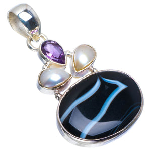 "Natural Botswana Agate,River Pearl and Amethyst 925 Sterling Silver Pendant 1.5"" B3321"