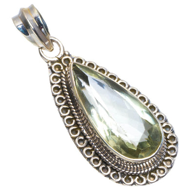 Natural Green Amethyst Handmade Unique 925 Sterling Silver Pendant 1.75