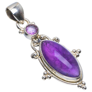 "Natural Amethyst Handmade Unique 925 Sterling Silver Pendant 1.75"" B3324"