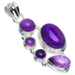 "Natural Amethyst Handmade Unique 925 Sterling Silver Pendant 1.75"" B3326"
