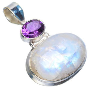 "Natural Rainbow Moonstone and Amethyst Handmade Unique 925 Sterling Silver Pendant 1.5"" B3333"