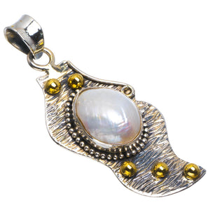 "Natural Two Tones Biwa Pearl Handmade Unique 925 Sterling Silver Pendant 2"" B3336"