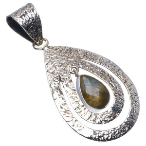 "Natural Blue Fire Labradorite Handmade Unique 925 Sterling Silver Pendant 2"" B3339"