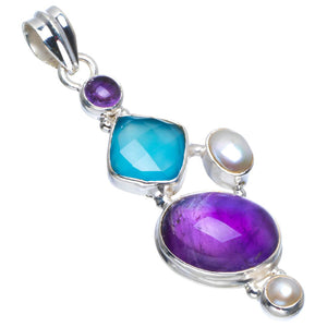 "Natural Amethyst,Chalcedony and River Pearl Handmade Unique 925 Sterling Silver Pendant 2.25"" B3341"