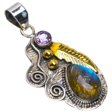 Natural Two Tones Blue Fire Labradorite&Amethyst Leaf 925 Sterling Silver Pendant 1.75
