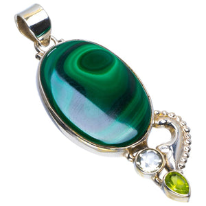 "Natural Malachite,White Topaz and Peridot Handmade Unique 925 Sterling Silver Pendant 2.5"" B3347"
