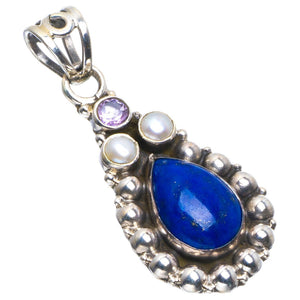 "Natural Lapiis Lazuli,River Pearl and Amethyst Handmade Unique 925 Sterling Silver Pendant 1.5"" B3354"